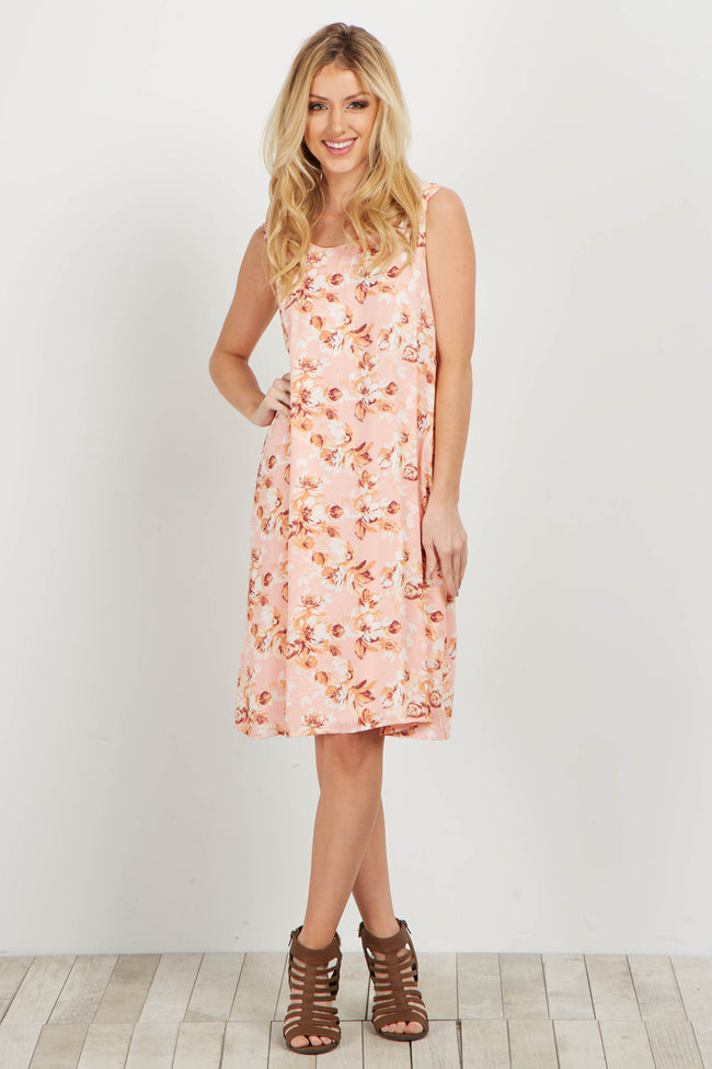 Pink Floral Sleeveless Chiffon Maternity Dress