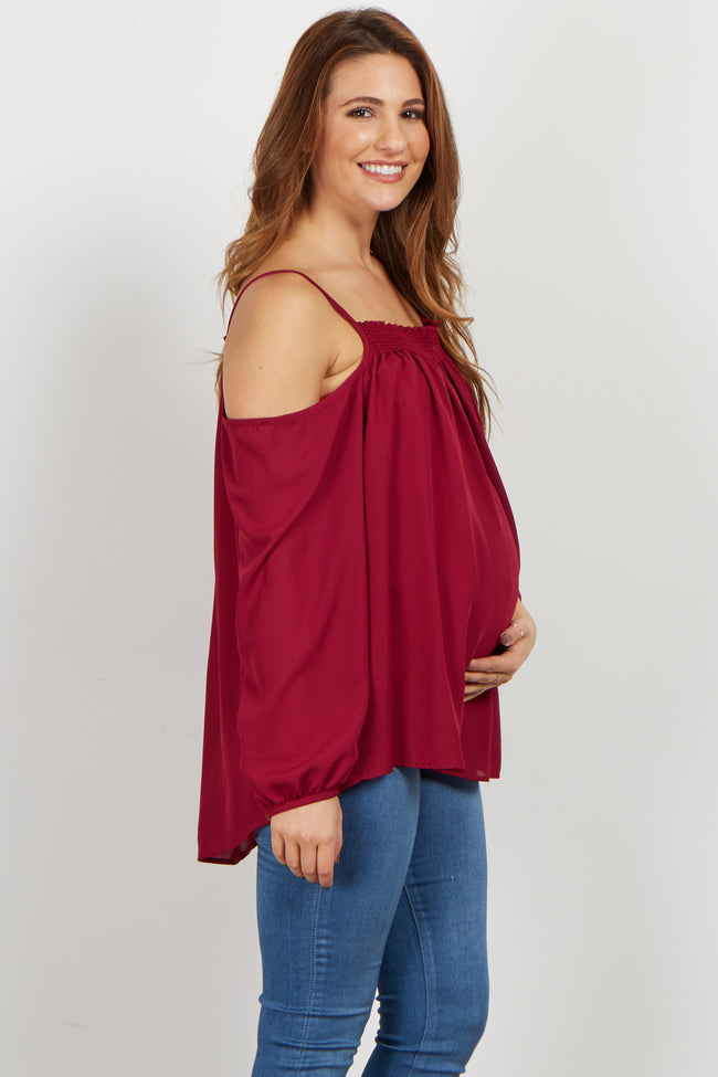 Burgundy Cold Shoulder Chiffon Maternity Blouse