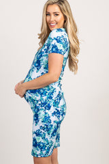White Neon Floral Fitted Maternity Dress