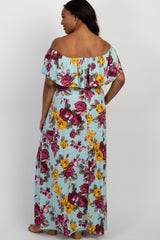 Light Blue Rose Off Shoulder Plus Maternity Maxi Dress