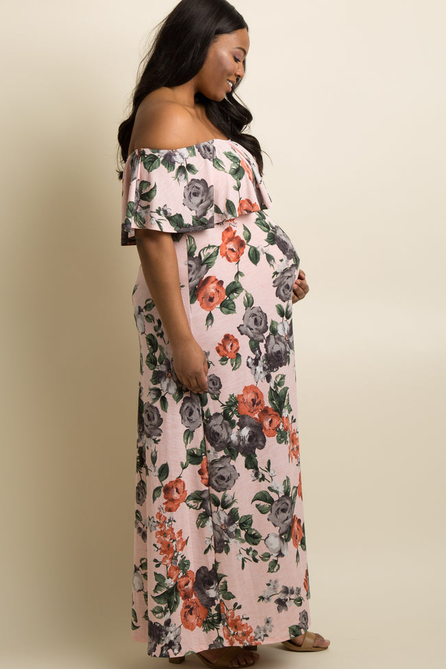 Light Pink Rose Off Shoulder Plus Maternity Maxi Dress