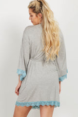 Grey Aqua Lace Trim Delivery/Nursing Maternity Robe