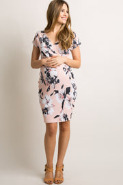 Tall Light Pink Floral V Neck Fitted Maternity Dress