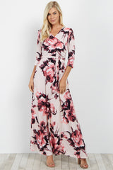 Pink Floral Wrap Maternity/Nursing Maxi Dress