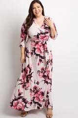 Pink Floral Sash Tie Plus Maternity/Nursing Maxi Dress