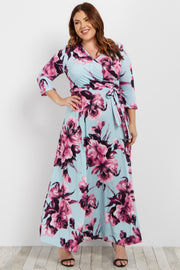 Light Blue Floral Sash Tie Plus Maxi Dress