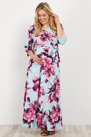 Light Blue Floral Sash Tie Plus Maternity/Nursing Maxi Dress