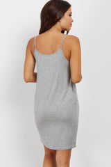 PinkBlush Grey Basic Maternity Sleep Dress