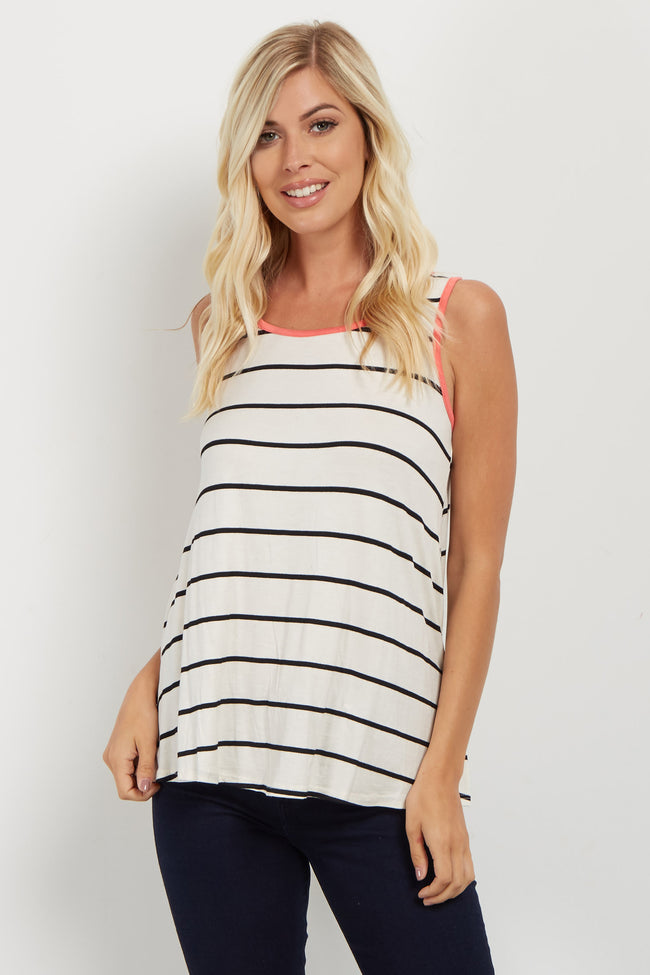 Coral Striped Colorblock Trim Tank Top
