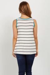 Jade Striped Colorblock Trim Maternity Tank Top
