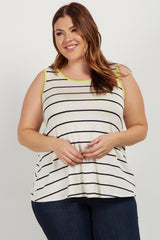 Green Striped Colorblock Trim Plus Tank Top