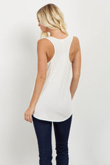 White Floral Pocket Tank Top