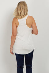 White Floral Pocket Maternity Tank Top