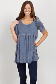Faded Blue Crochet Trim Top