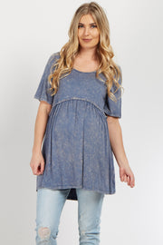 Faded Blue Crochet Trim Maternity Top