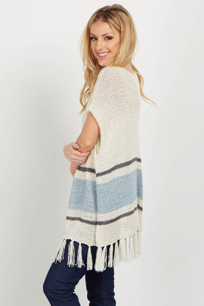 Cream Colorblock Fringed Open Knit Tunic