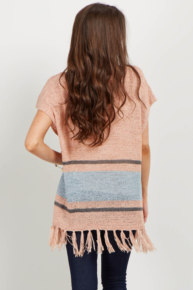 Peach Colorblock Fringed Open Knit Tunic