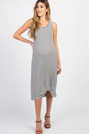White Striped Knot Maternity Midi Dress