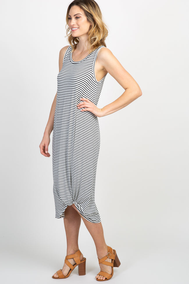 White Black Striped Sleeveless Knot Dress