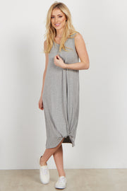 Grey Sleeveless Knot Dress