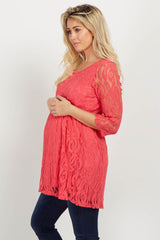 Coral Lace Overlay Maternity Babydoll Top