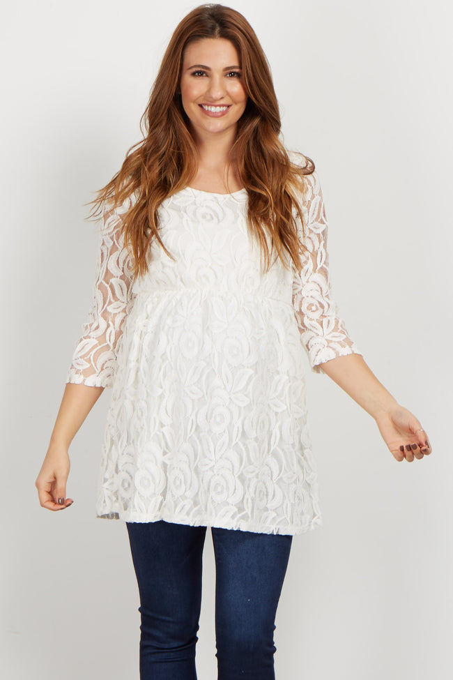 White Lace Overlay Maternity Babydoll Top