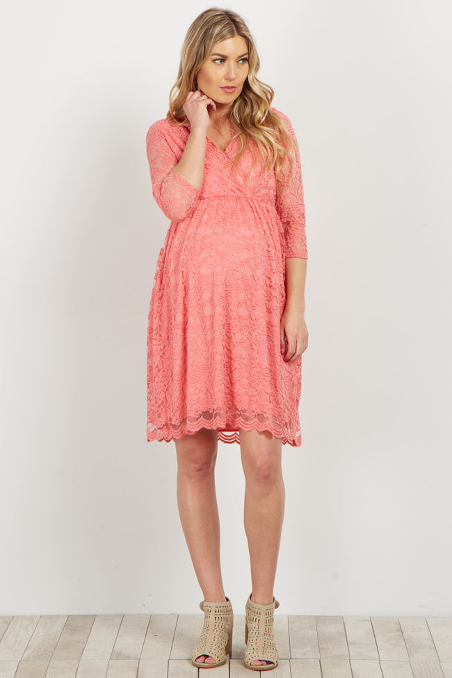 Coral Lace Overlay Wrap Maternity Dress