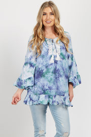 Blue Tie Dye Cold Shoulder Maternity Top