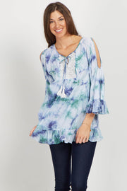 Blue Tie Dye Cold Shoulder Top