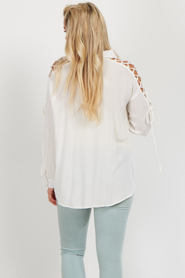 Ivory Lace-Up Sleeve Button Down Maternity Blouse