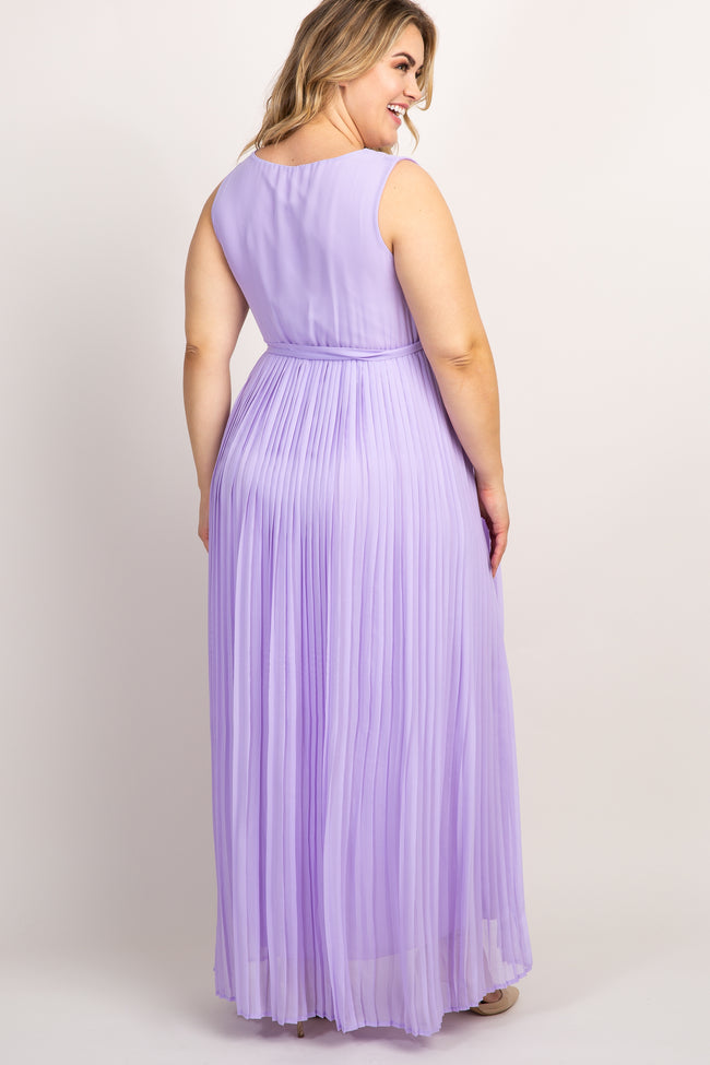 Lavender Pleated Chiffon Plus Maternity Gown