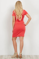 Salmon Short Sleeve Fitted Maternity Dress