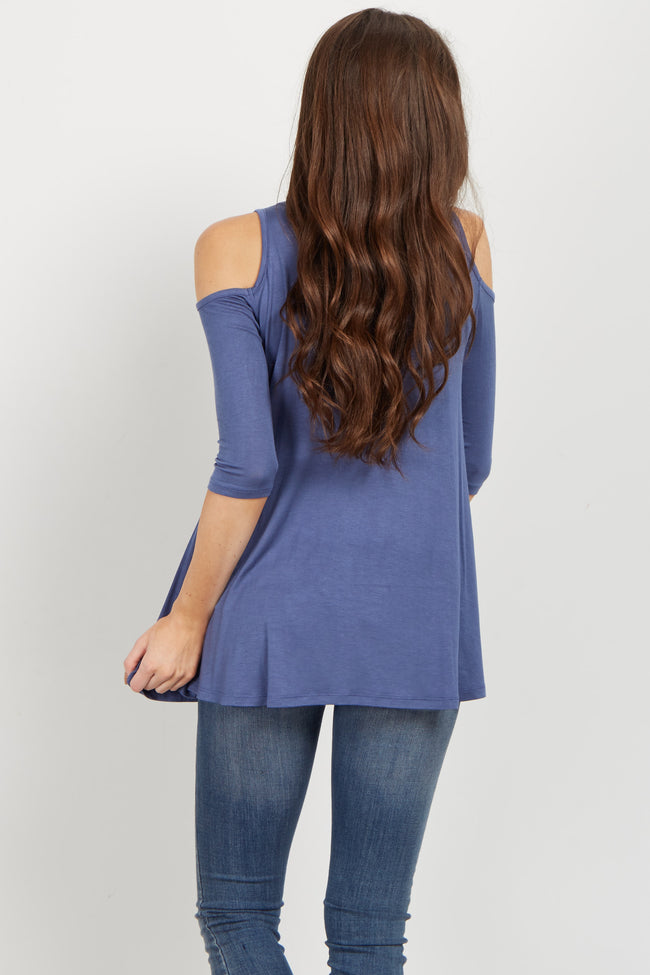 Blue Basic Cold Shoulder Top