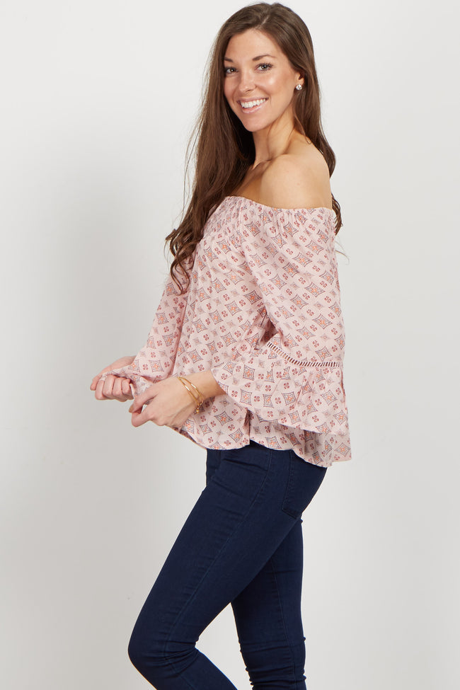 Pink Diamond Print Off Shoulder Top