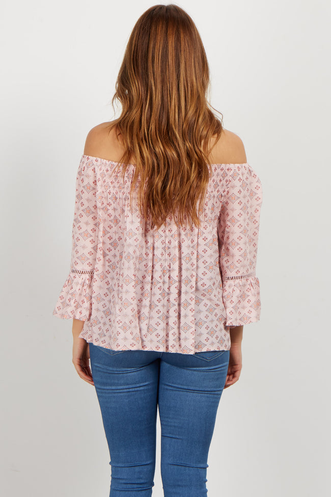 Pink Diamond Print Off Shoulder Maternity Top