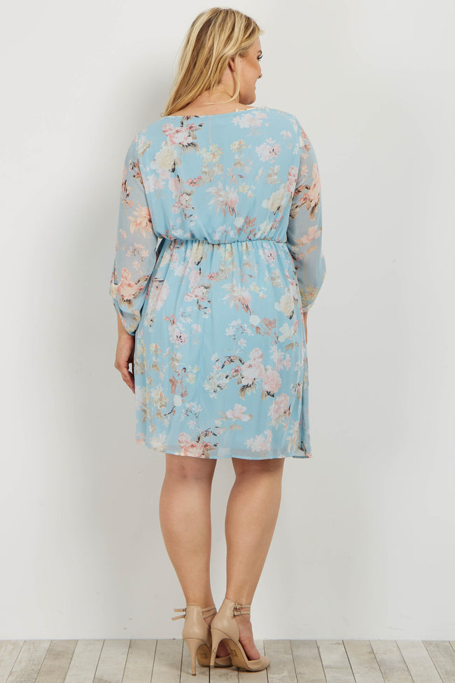Light Blue Floral Chiffon 3/4 Sleeve Plus Maternity Dress