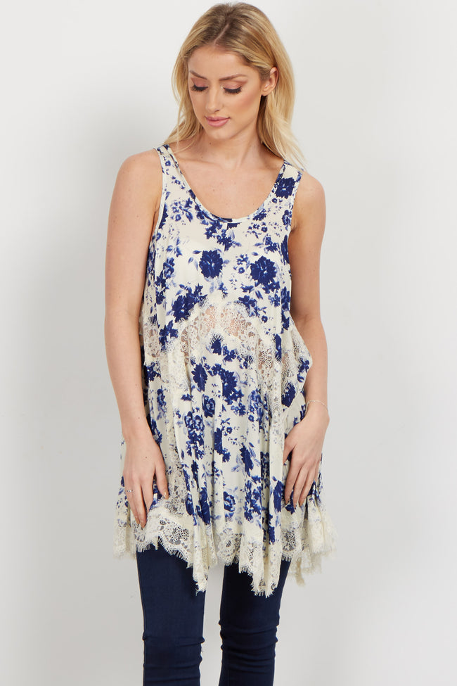Navy Floral Lace Accent Maternity Tank Top