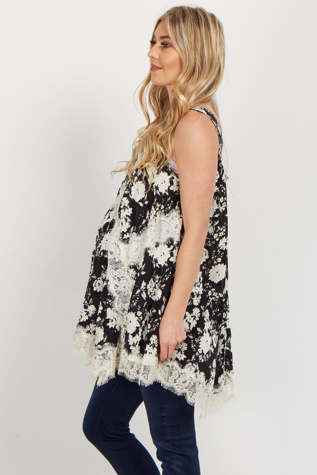 Black Floral Lace Accent Maternity Tank Top