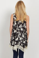 Black Floral Lace Accent Tank Top