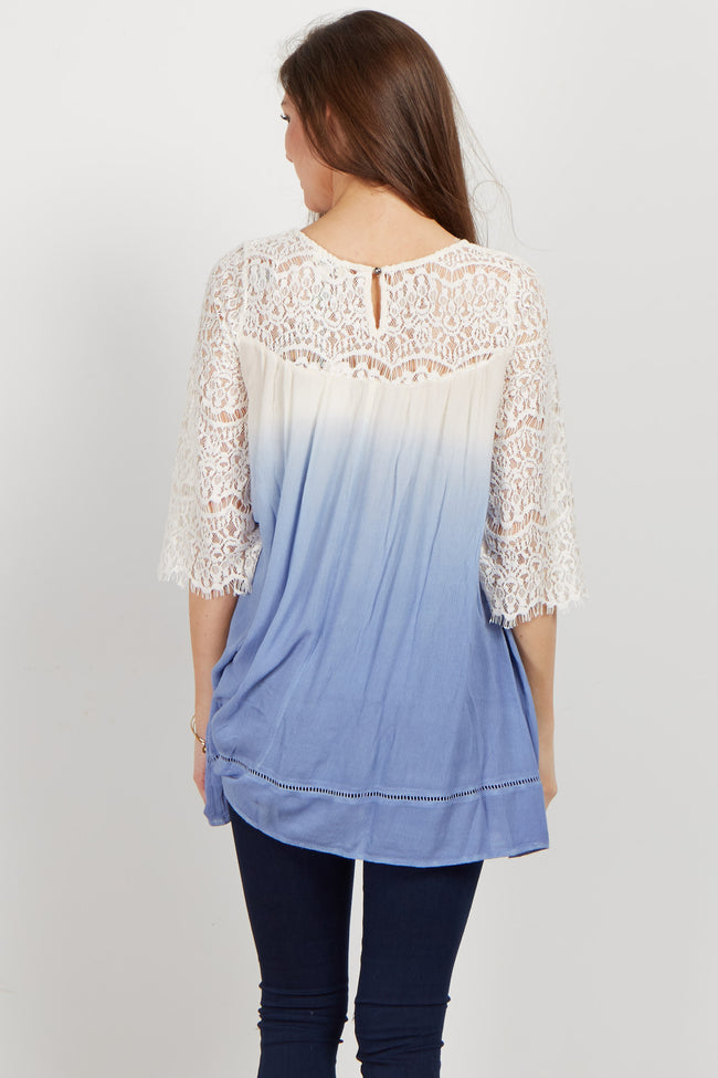 Blue Ombre Crochet Lace Tunic