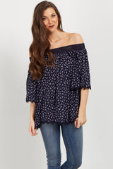 Navy Paisley Crochet Off Shoulder Top