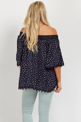 Navy Paisley Crochet Off Shoulder Maternity Top