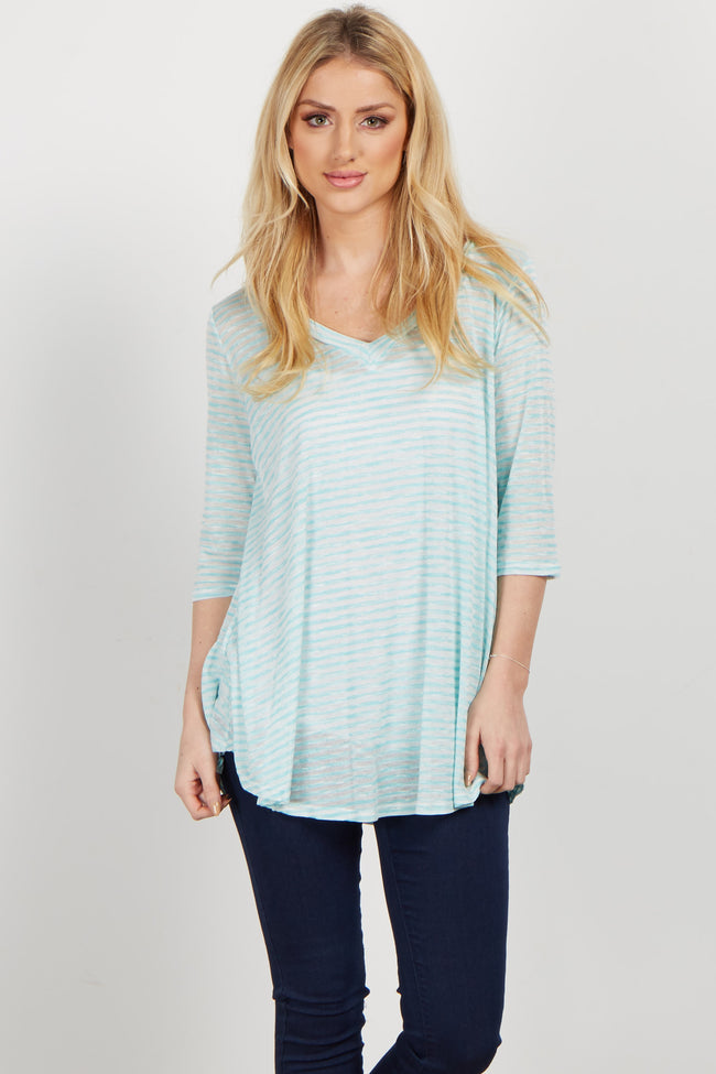 Aqua Striped V Neck Top