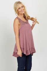 Mauve Lace Ruffle Trim Top