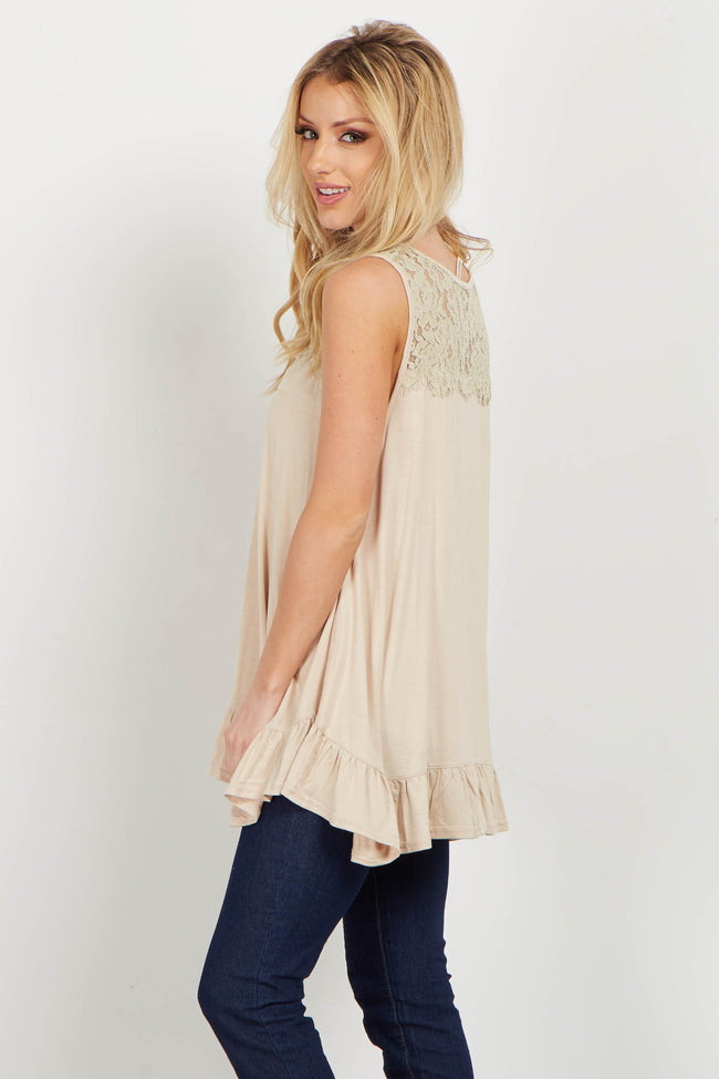 Beige Lace Ruffle Trim Top