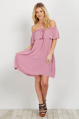 Mauve Raw Cut Off Shoulder Dress