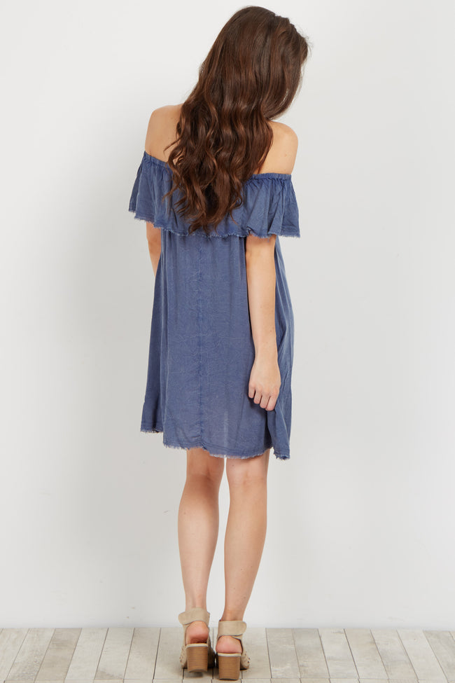 Blue Raw Cut Off Shoulder Dress