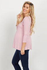 Pink Solid Caged Front Maternity Top