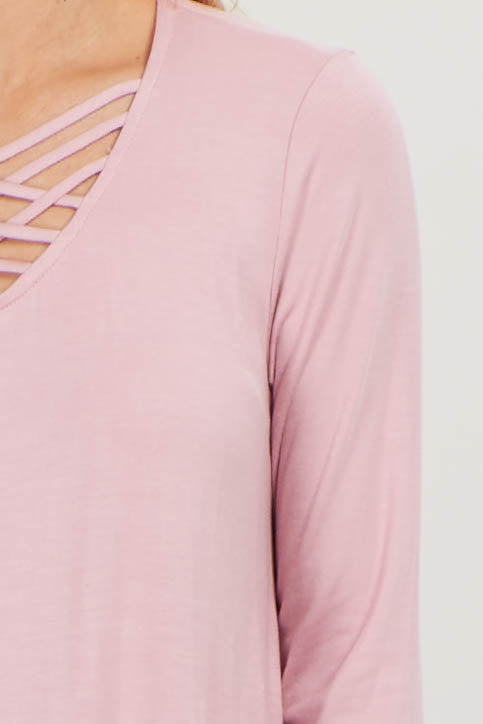 Pink Solid Caged Front Top