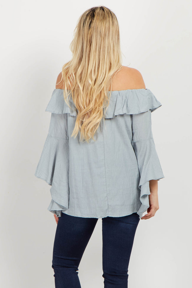Light Blue Ruffle Off Shoulder Maternity Blouse